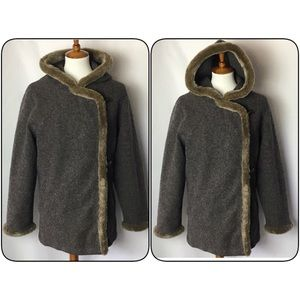 J.Jill Wool Coat Hooded Toggle Buttons